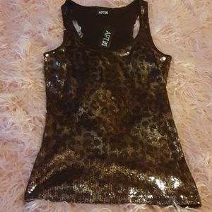 NWT Leopard Sequin Tank Top